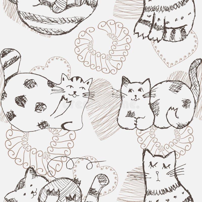 Modèle sans couture de chats tirés par la main illustration de vecteur