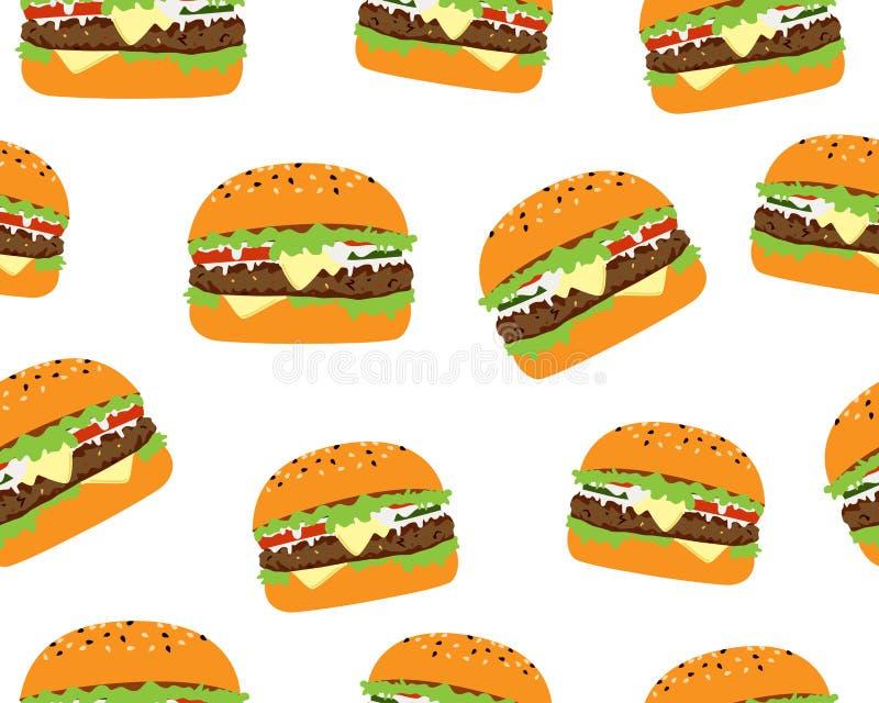 Modèle sans couture de cheeseburger savoureux illustration libre de droits