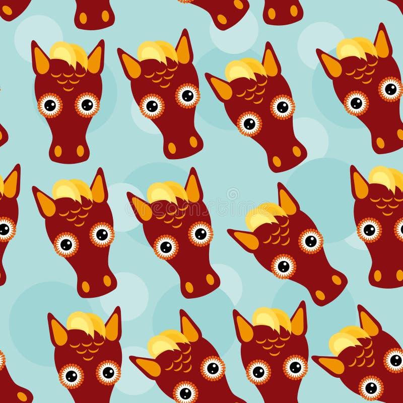 Modèle sans couture de cheval avec le visage animal mignon drôle sur un CCB bleu illustration de vecteur