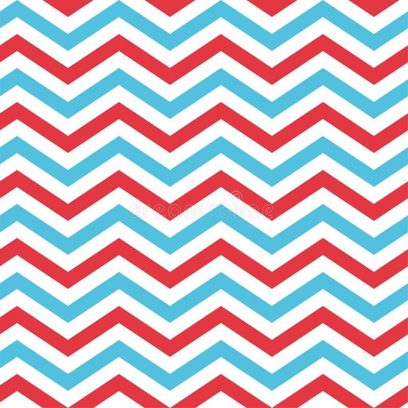 Modèle sans couture de Chevron en bleu, rouge, et le blanc illustration de vecteur