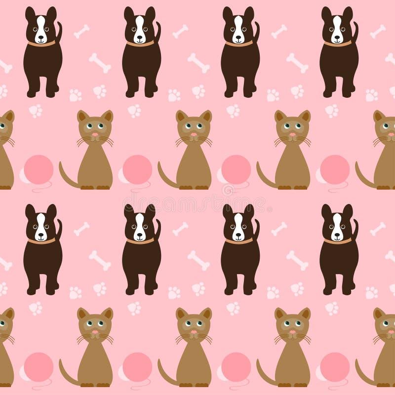 Modèle sans couture de chien et de chat de bande dessinée drôle sur le rose lumineux Co illustration de vecteur