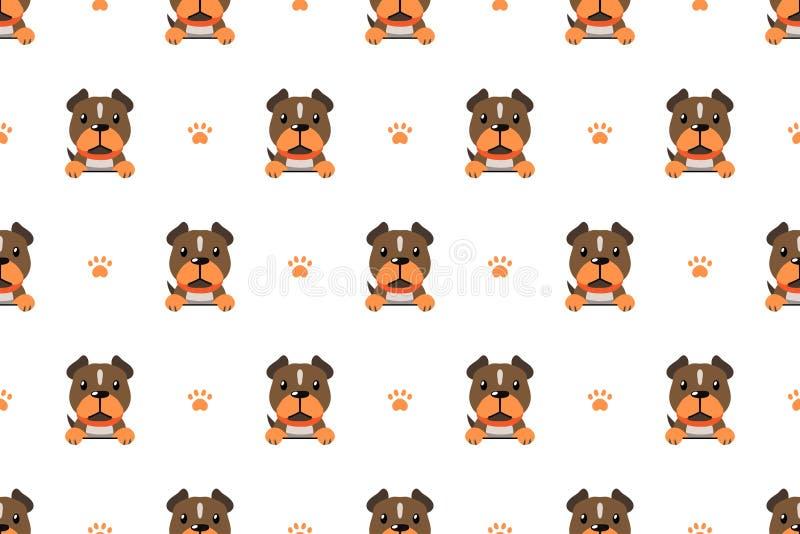 Modèle sans couture de chien de terrier de pitbull de personnage de dessin animé de vecteur illustration de vecteur