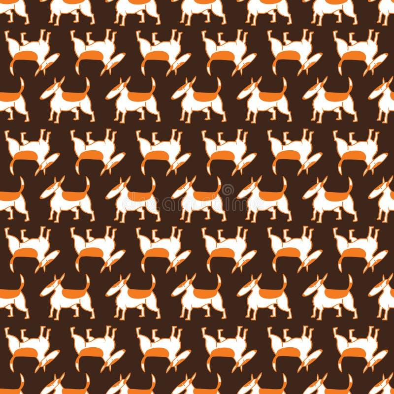 Modèle sans couture de chiens de bull-terrier Fond avec le charact d'animaux familiers illustration libre de droits