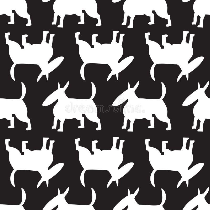Modèle sans couture de chiens de bull-terrier Fond avec le charact d'animaux familiers illustration de vecteur