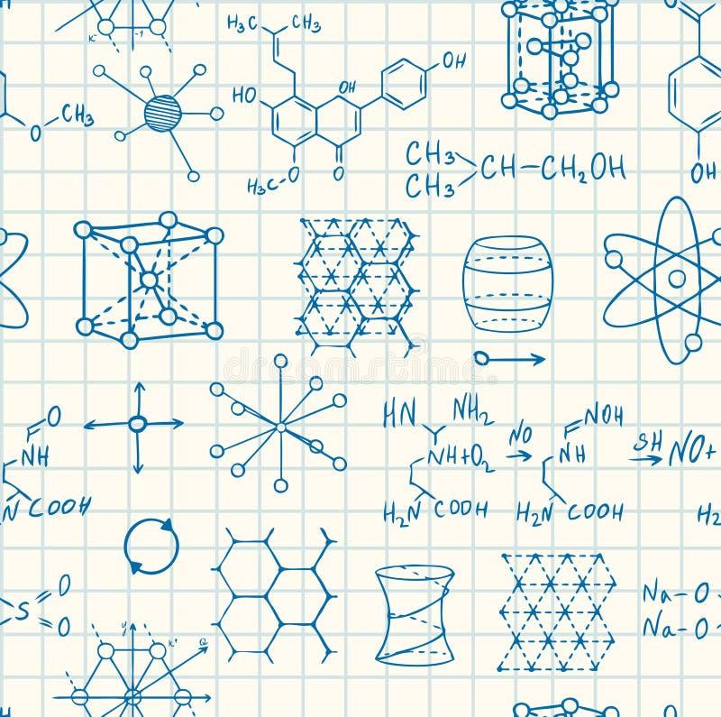 Modèle sans couture de chimie de la Science et de vecteur de physique illustration libre de droits