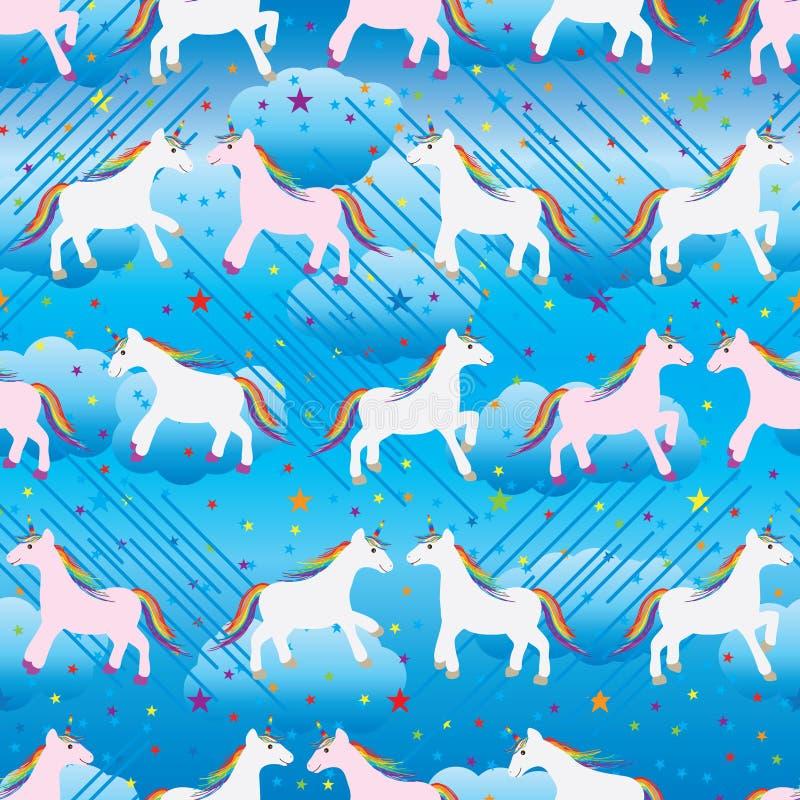 Modèle sans couture de ciel d'étoile de licorne illustration de vecteur