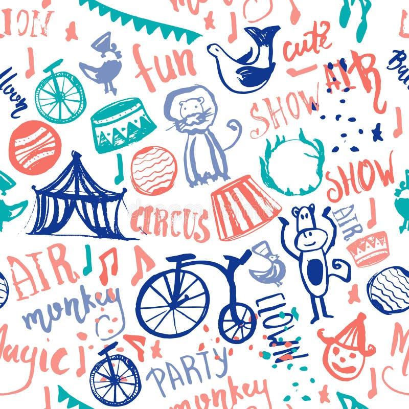 Modèle sans couture de cirque tiré par la main avec le clown, singe, papier d'enveloppe de lion, crèche, vecteur de croquis de gr illustration de vecteur
