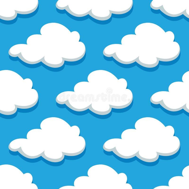 Modèle sans couture de cloudscape de bande dessinée sur cyan illustration libre de droits