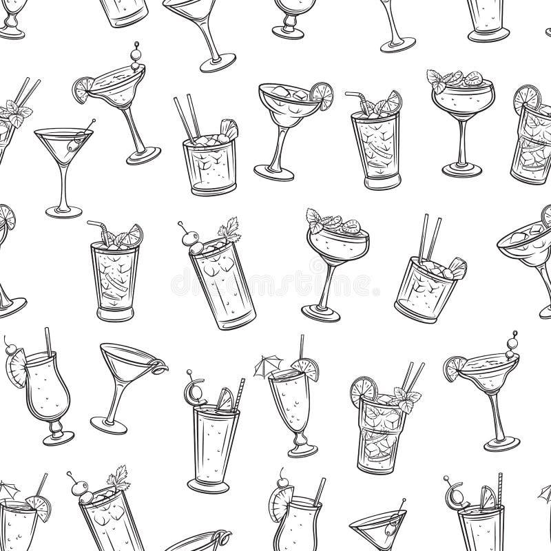 Modèle sans couture de cocklails tropicaux illustration de vecteur