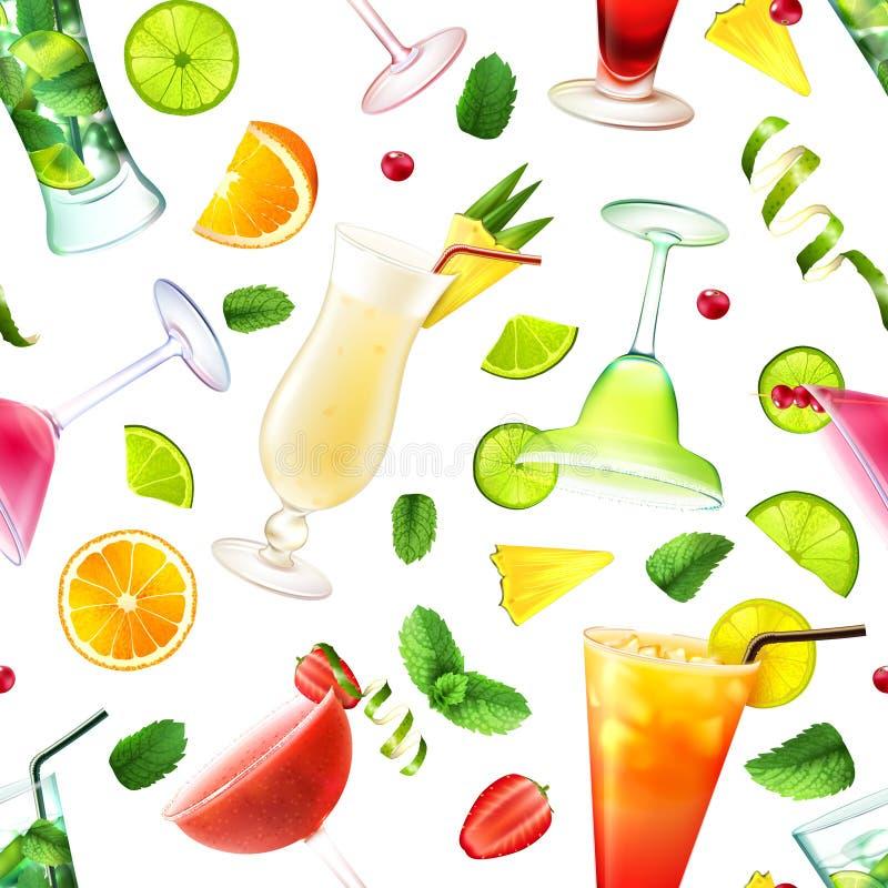 Modèle sans couture de cocktail illustration stock