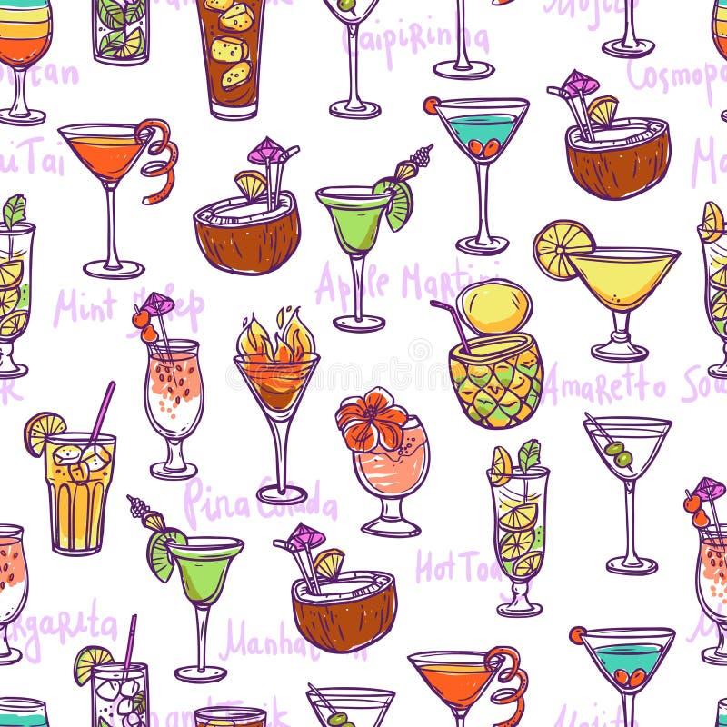 Modèle sans couture de cocktail illustration de vecteur