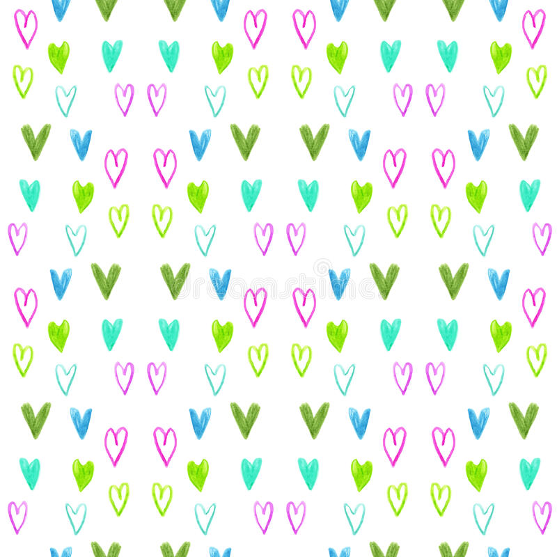 Modèle sans couture de coeur d'aquarelle sur un contexte blanc Fond de jour de valentines illustration stock
