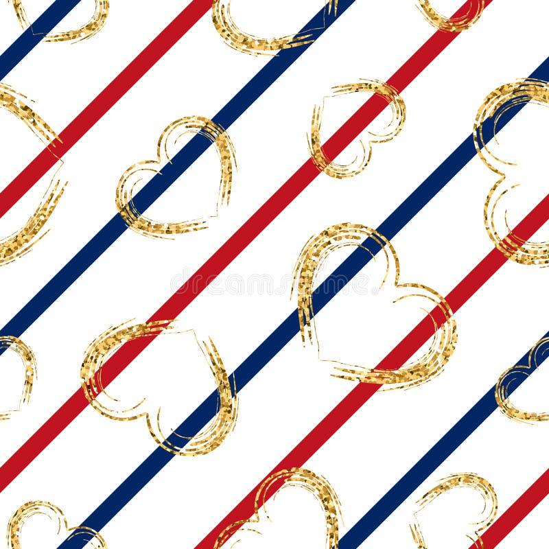 Modèle sans couture de coeur d'or rayures géométriques blanc rouge, confettis-coeurs grunges d'or Amour de symbole, Saint Valenti illustration libre de droits