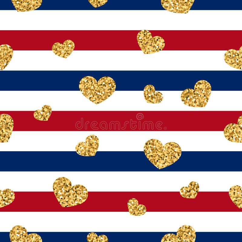 Modèle sans couture de coeur d'or rayures géométriques blanc rouge, confettis-coeurs d'or Symbole de l'amour, Saint Valentin illustration stock