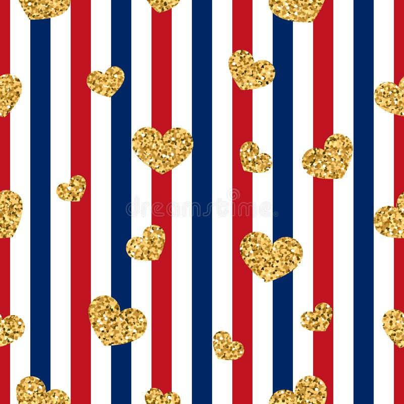 Modèle sans couture de coeur d'or rayures géométriques blanc rouge, confettis-coeurs d'or Symbole de l'amour, Saint Valentin illustration libre de droits