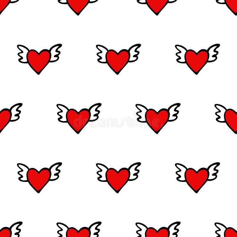 Modèle sans couture de coeur de vecteur pour le jour de valentines Coeurs mignons avec des ailes illustration de vecteur