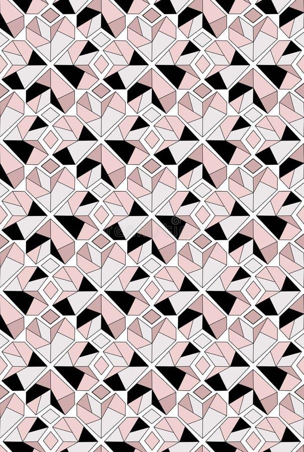 Modèle sans couture de coeur de diamant dans des tons noirs et roses gris illustration libre de droits
