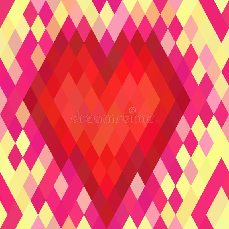 Modèle sans couture de coeur géométrique illustration de vecteur