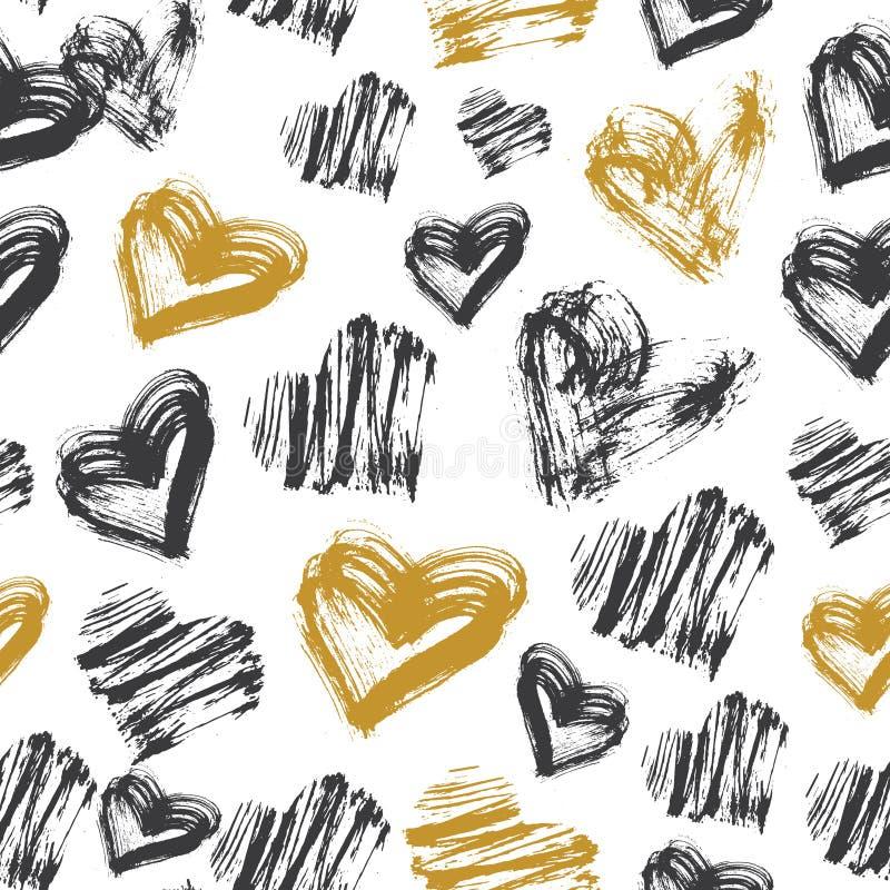 Modèle sans couture de coeur Modèle noir, blanc et d'or d'encre illustration libre de droits