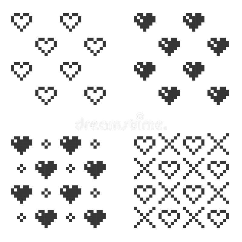 Modèle sans couture de coeur de pixel réglé sur le fond blanc Vecteur illustration de vecteur