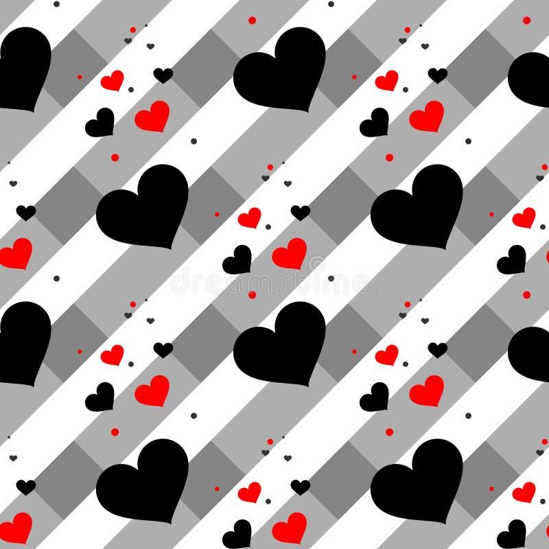 Modèle sans couture de coeur rouge et noir Coeurs colorés Conception d'emballage pour le papier cadeau Fond moderne géométrique a illustration libre de droits
