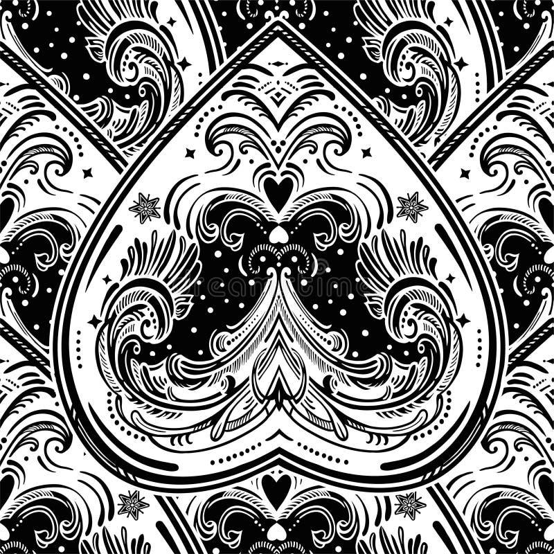 Modèle sans couture de coeur de vecteur de style de vintage illustration stock