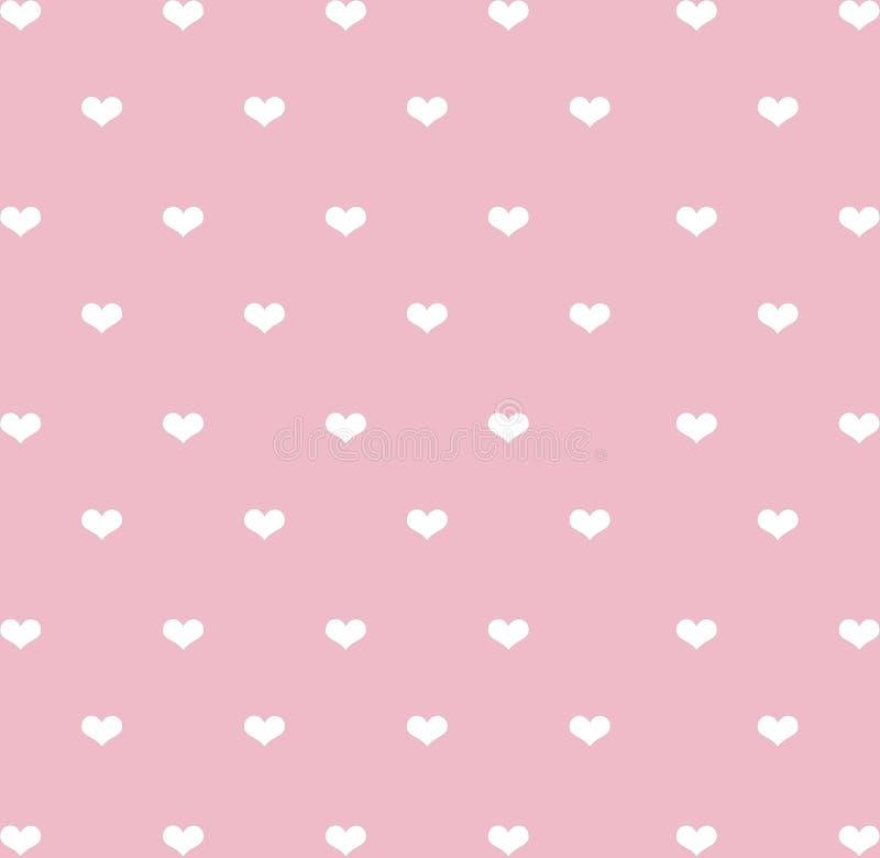 Modèle sans couture de coeurs blancs sur le fond en pastel rose de ton photo stock