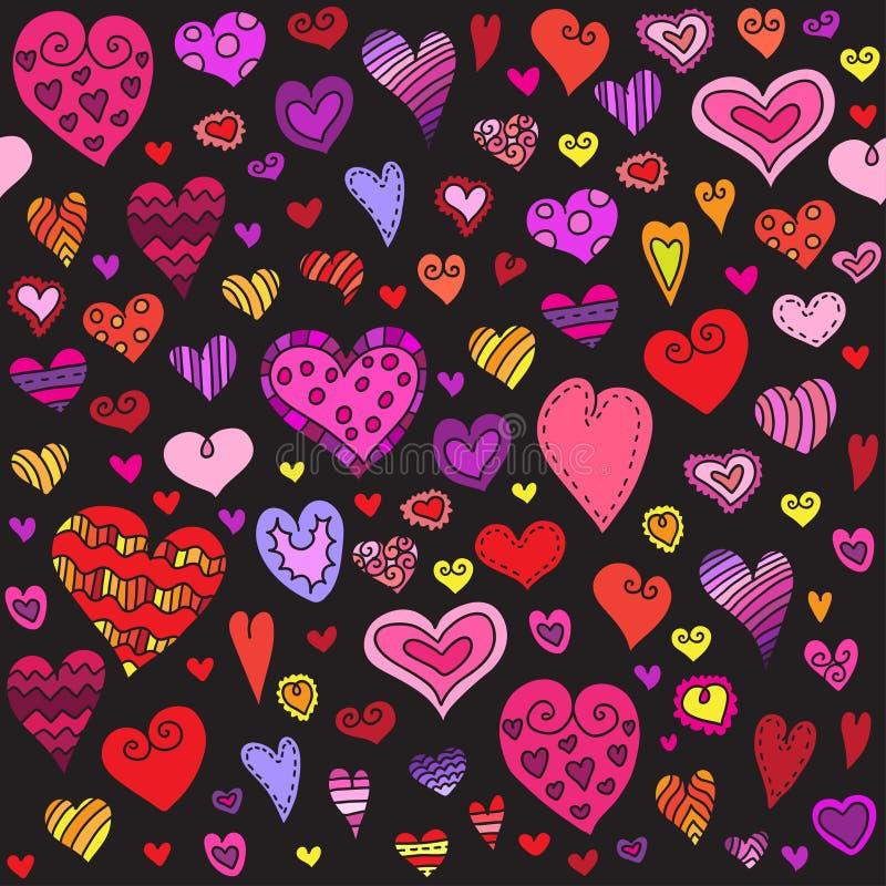 Modèle sans couture de coeurs d'amour Coeur de griffonnage fond romantique Illustration de vecteur illustration stock