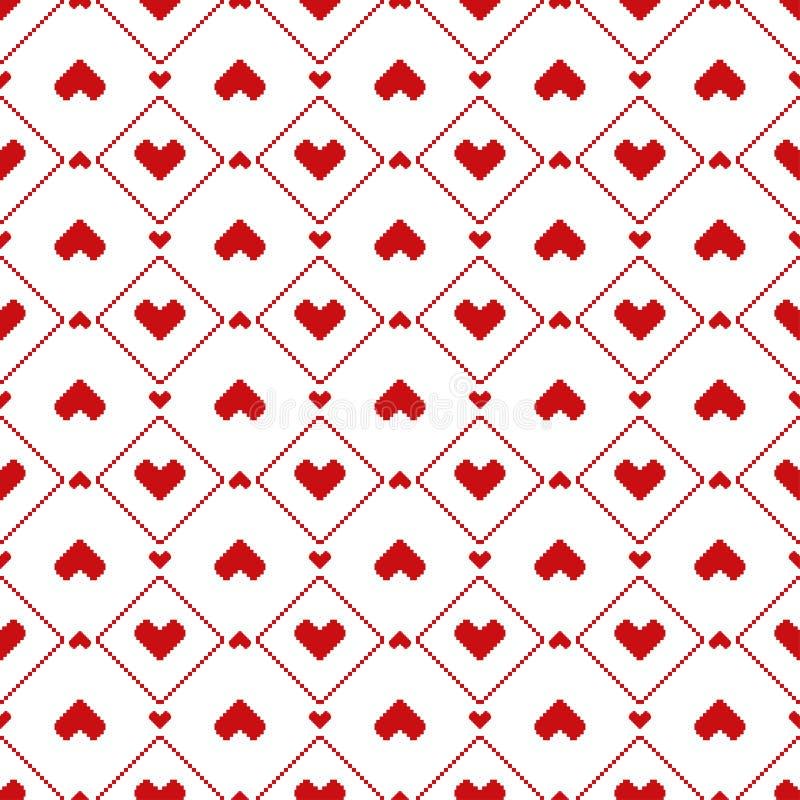 Modèle sans couture de coeurs de pixel illustration stock