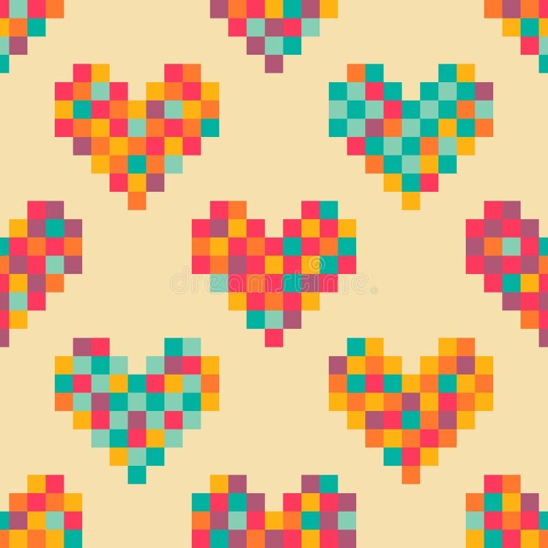 Modèle Sans Couture De Coeurs De Pixel Illustration De
