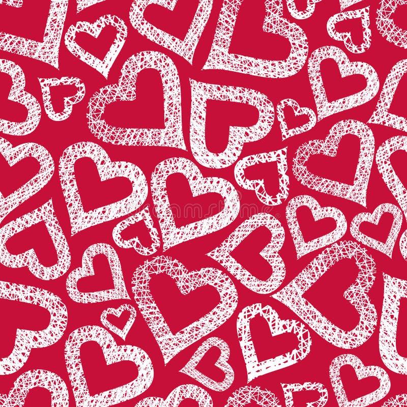 Modèle sans couture de coeurs, fond sans couture de thème de Valentine, VE illustration stock