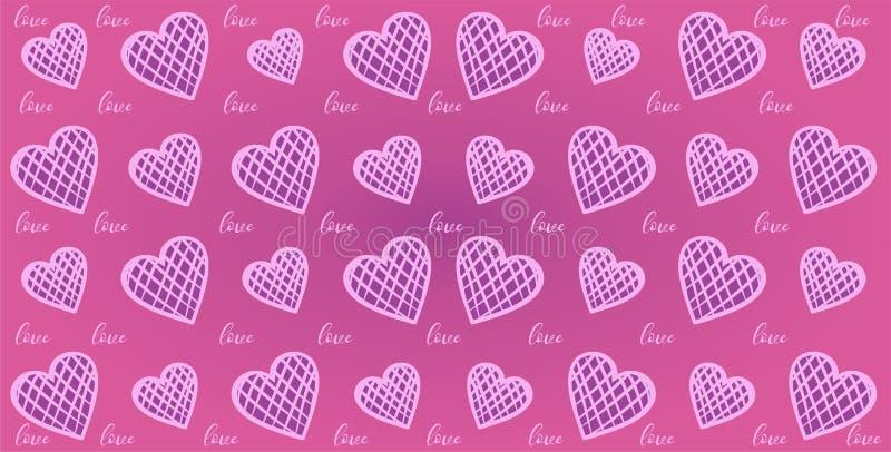 Modèle sans couture de coeurs géométriques de jour de valentines illustration de vecteur