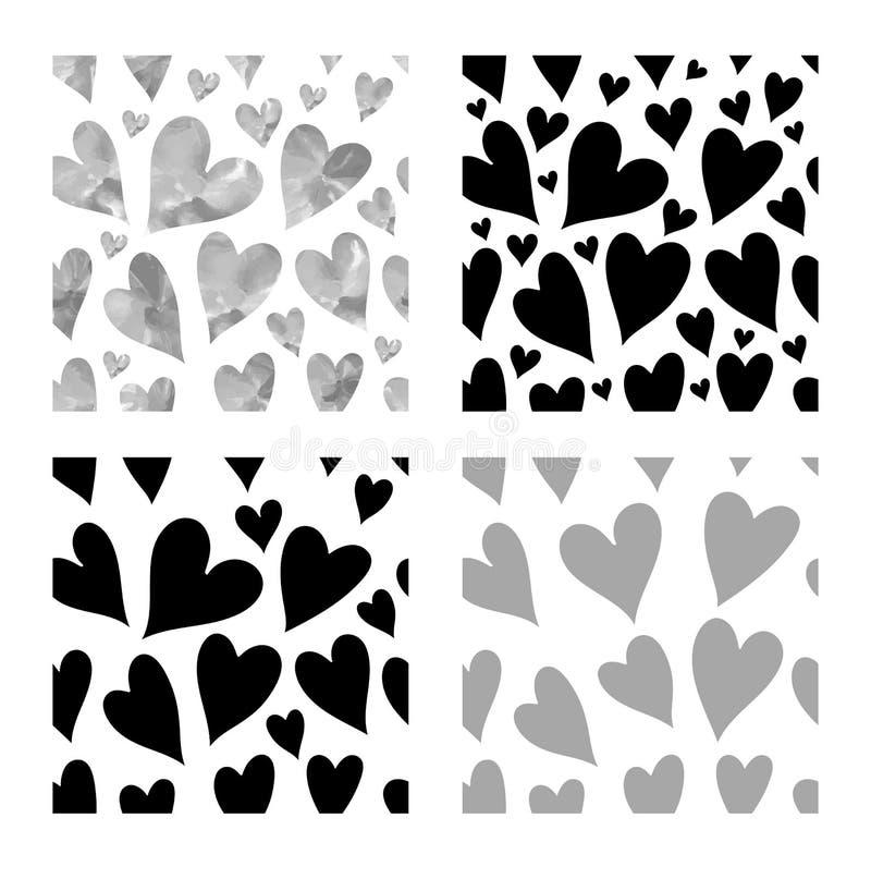 Download Modèle Sans Couture De Coeurs Noirs Illustration de Vecteur - Illustration du beau, amour: 87709757