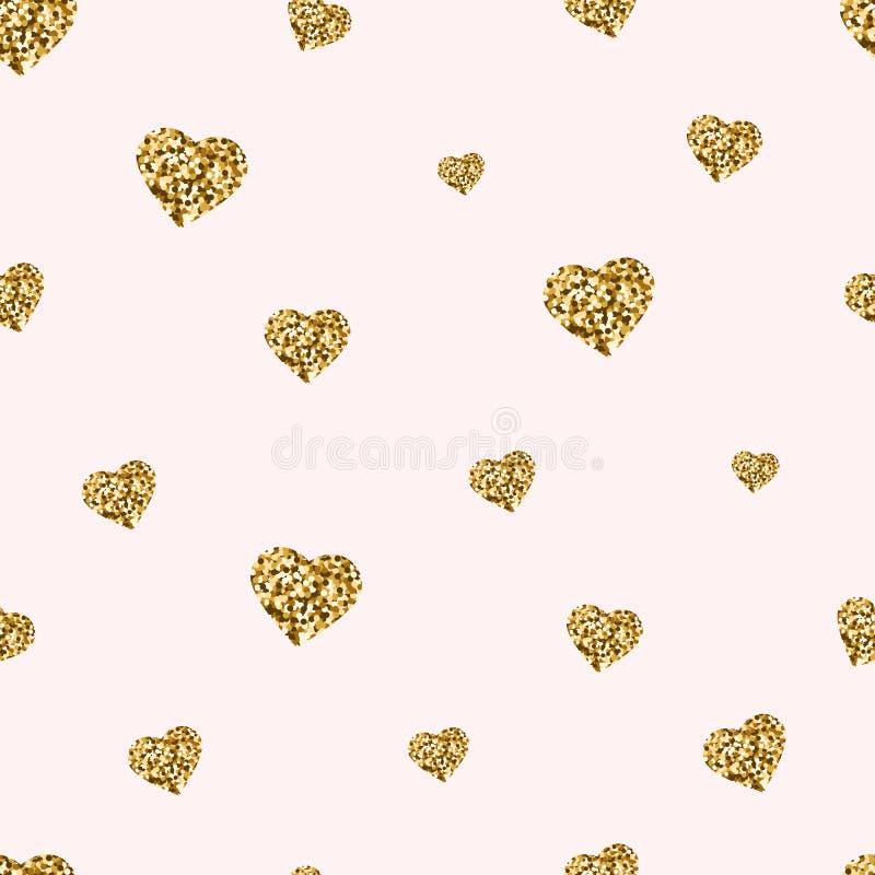 Modèle sans couture de coeurs de scintillement d'or Coeurs d'or avec le fond mignon de jour de valentines d'étincelles et de pous illustration libre de droits