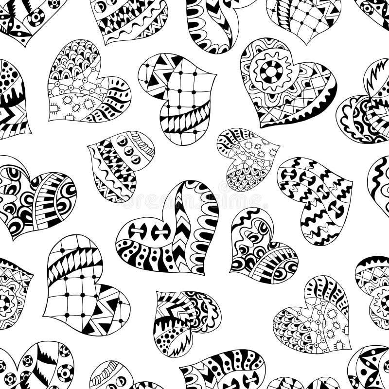 Modèle sans couture de coeurs de Zentangle illustration de vecteur