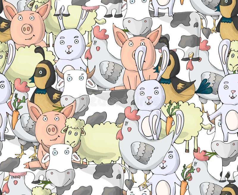 Modèle sans couture de collection d'animaux de ferme avec la vache, poule, porc, mouton, lapin, caille Caract?res de vecteur de b illustration stock