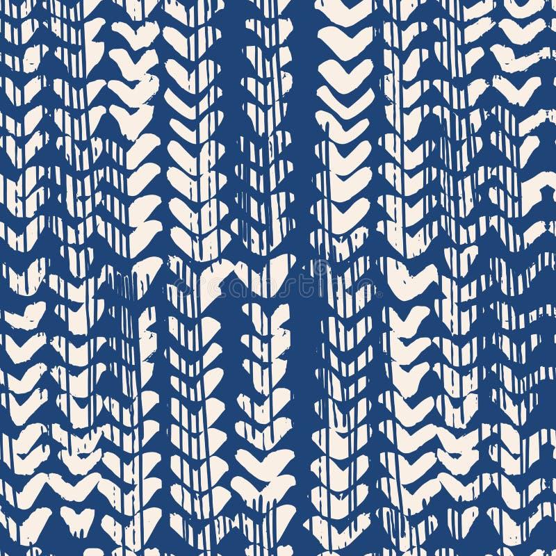 Modèle sans couture de colorant de lien de vecteur d'indigo image libre de droits
