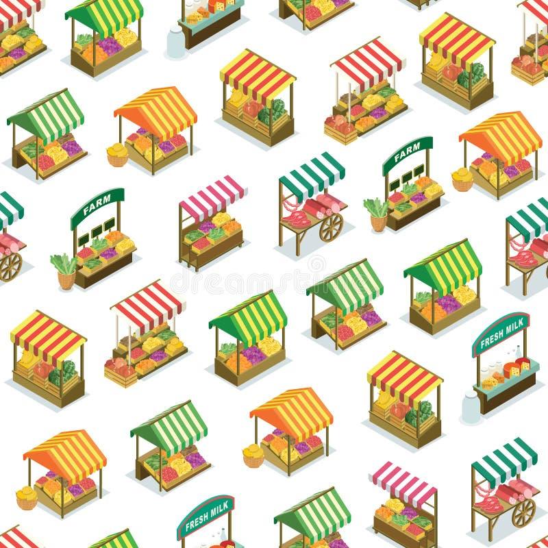 Modèle sans couture de compteur du marché de ferme de rue illustration libre de droits