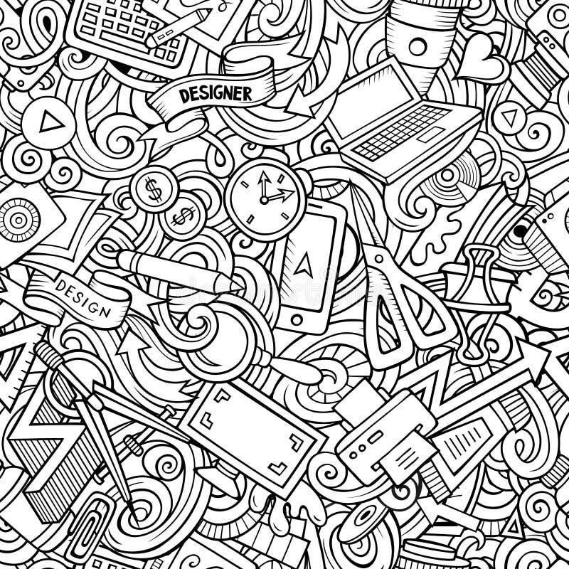 Modèle sans couture de concepteur tiré par la main mignon de griffonnages de bande dessinée illustration libre de droits