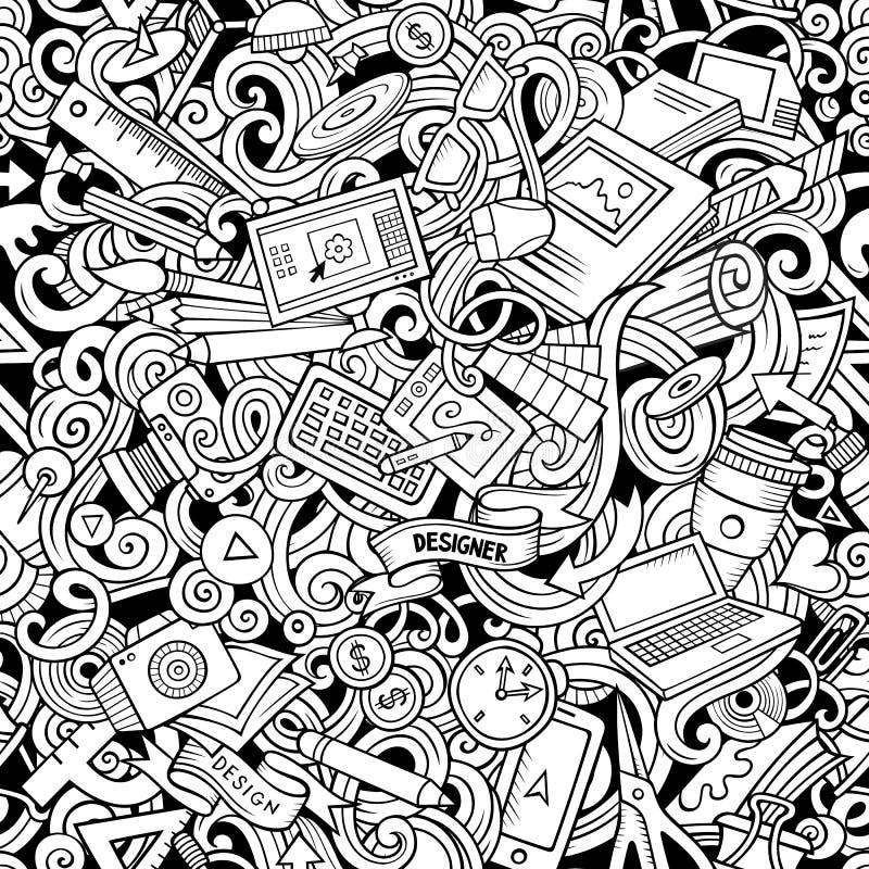 Modèle sans couture de concepteur tiré par la main mignon de griffonnages de bande dessinée illustration stock