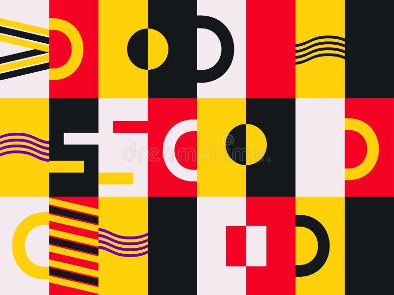 Modèle sans couture de conception de Bauhaus Style de Memphis d'éléments géométriques rétro Vecteur illustration de vecteur