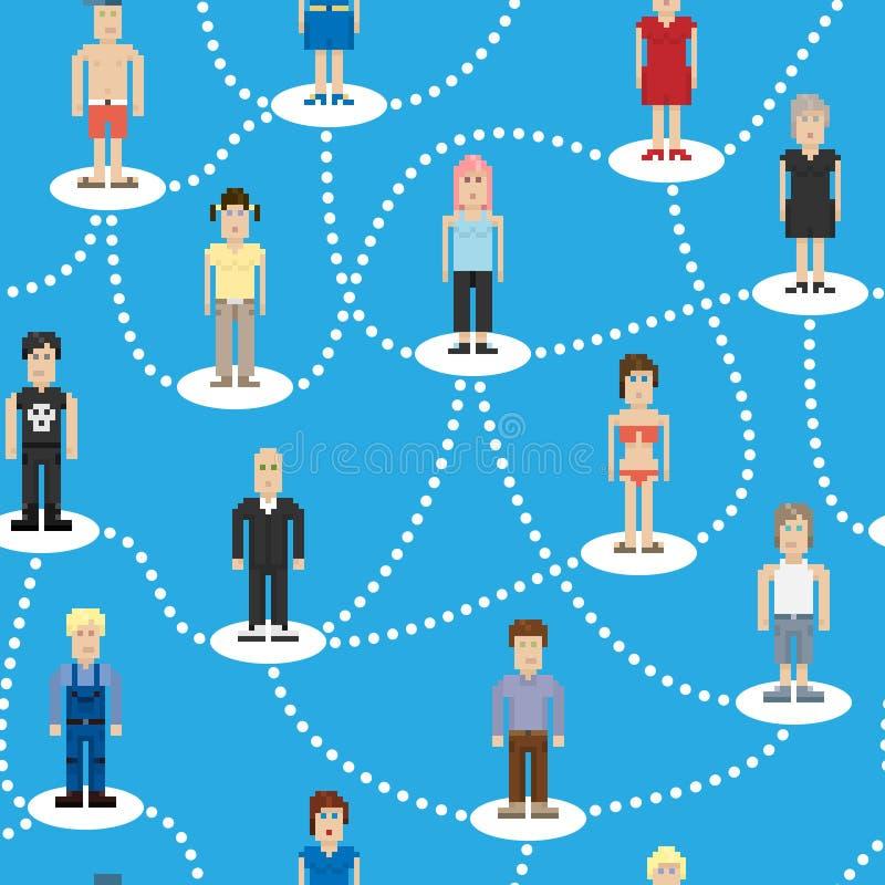 Modèle sans couture de connexion sociale de personnes de pixel illustration libre de droits
