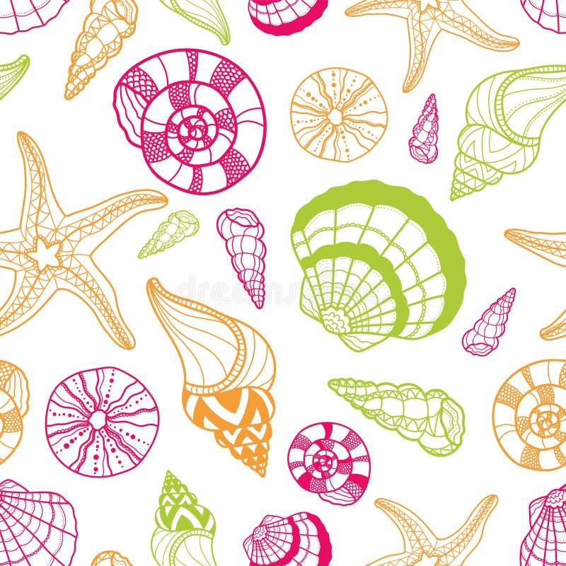Modèle sans couture de coquillage d'amusement, étoiles de mer colorées tirées par la main de coquilles et fond foncé, belle conce illustration stock