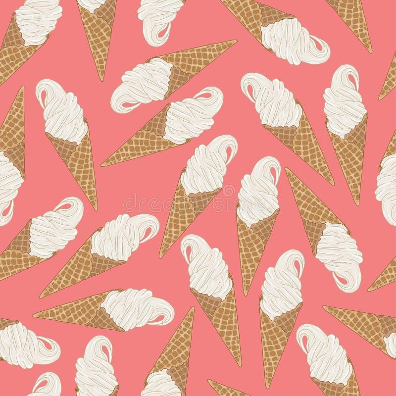 Modèle sans couture de cornet de crème glacée Illustration de vecteur sur le fond de rose en pastel illustration stock
