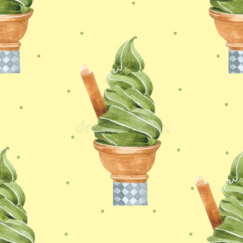Modèle sans couture de cornet de crème glacée pour empaqueter, aquarelle tirée par la main illustration libre de droits
