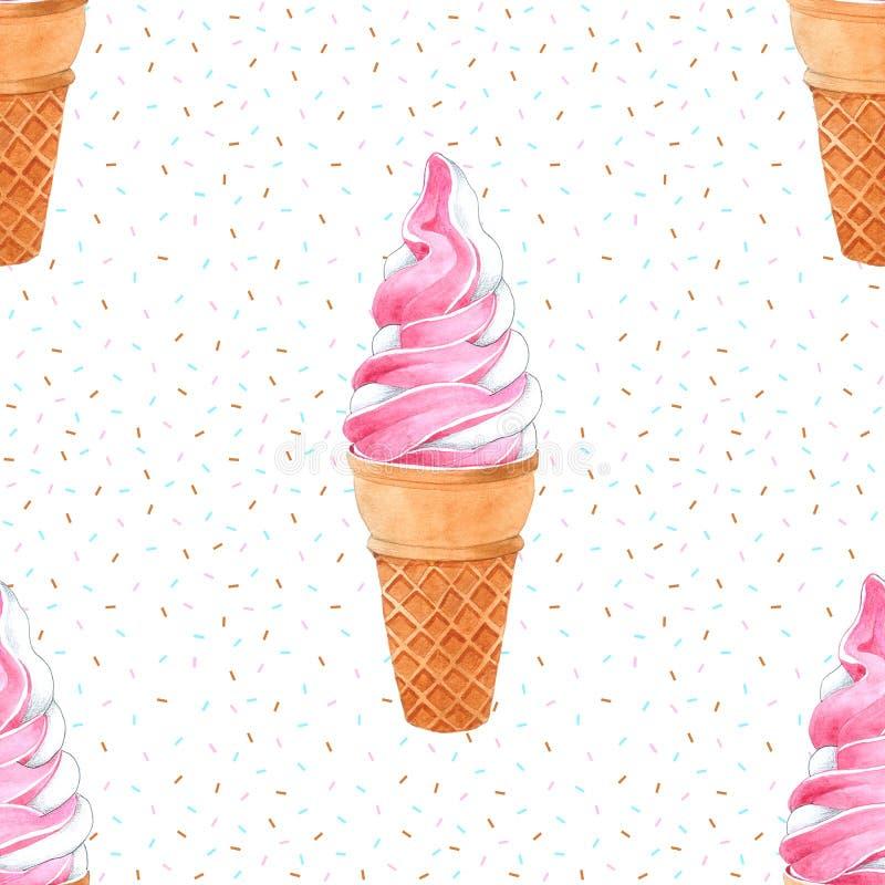 Modèle sans couture de cornet de crème glacée pour empaqueter, aquarelle tirée par la main illustration de vecteur