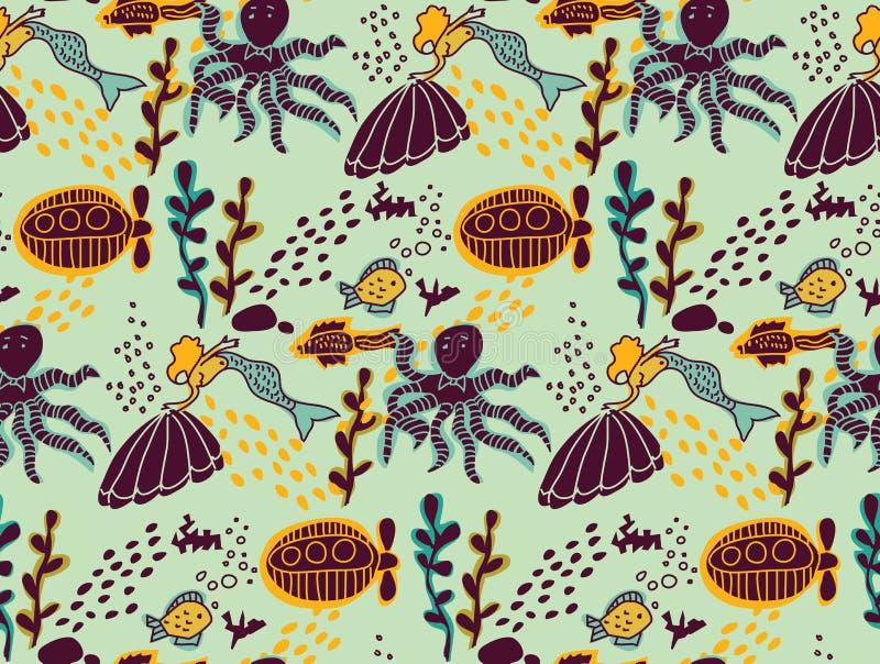 Modèle sans couture de couleur animale sous-marine de vie marine illustration stock