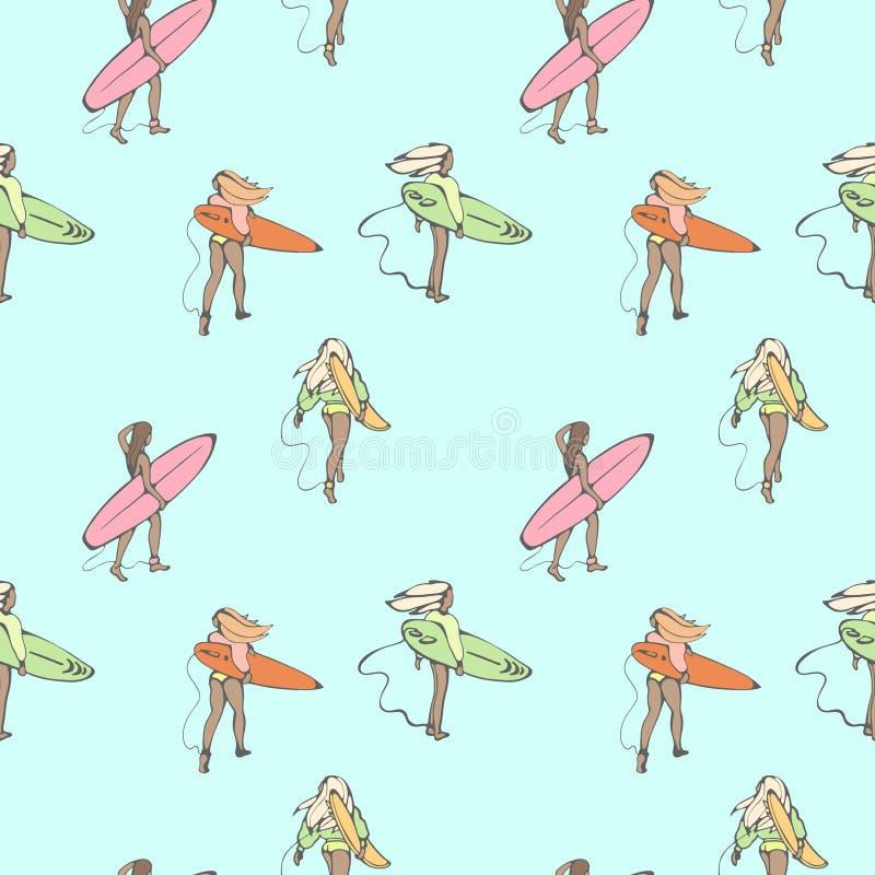 Modèle sans couture de couleur avec des filles avec des panneaux de ressac marchant le long de la plage illustration stock