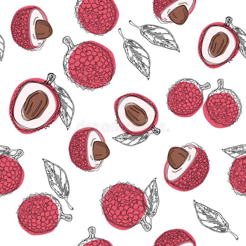 Modèle sans couture de couleur graphique d'aspiration de main de fruit de litchi Ligne continue illustration tirée par la main de illustration stock