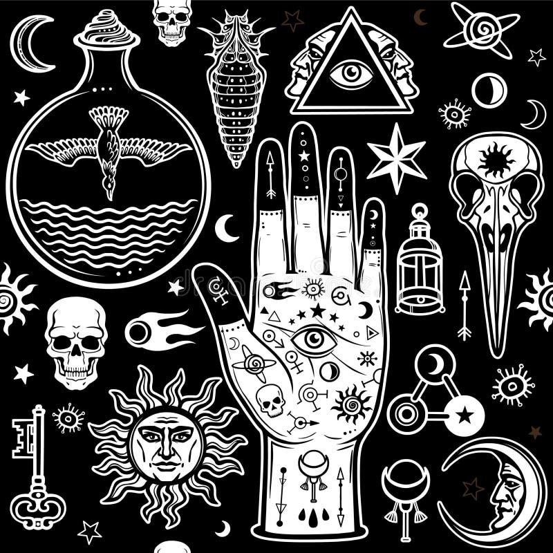 Modèle sans couture de couleur : mains humaines dans les tatouages, symboles alchimiques illustration libre de droits
